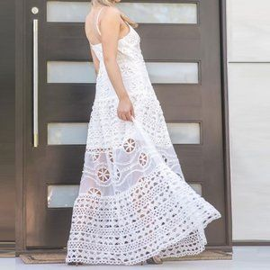 Embroidered Eyelet Detail Tiered Cutout Maxi Dress